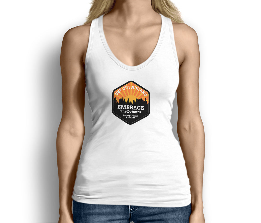 Get Outside Embrace the Detours Womens Tank Top White