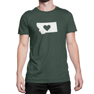 Montana State Love Heart Logo Shirt Green