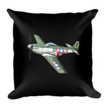 WWII American P51 Mustang Airplane Pillow Black
