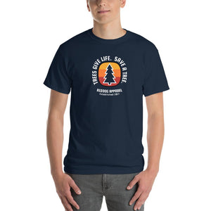 Trees Give Life Save a Tree Mens Shirt V2 Blue