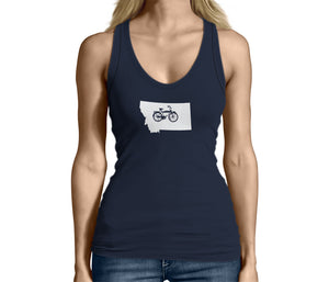 Womens Montana State Bicycle Logo Shirt Blue
