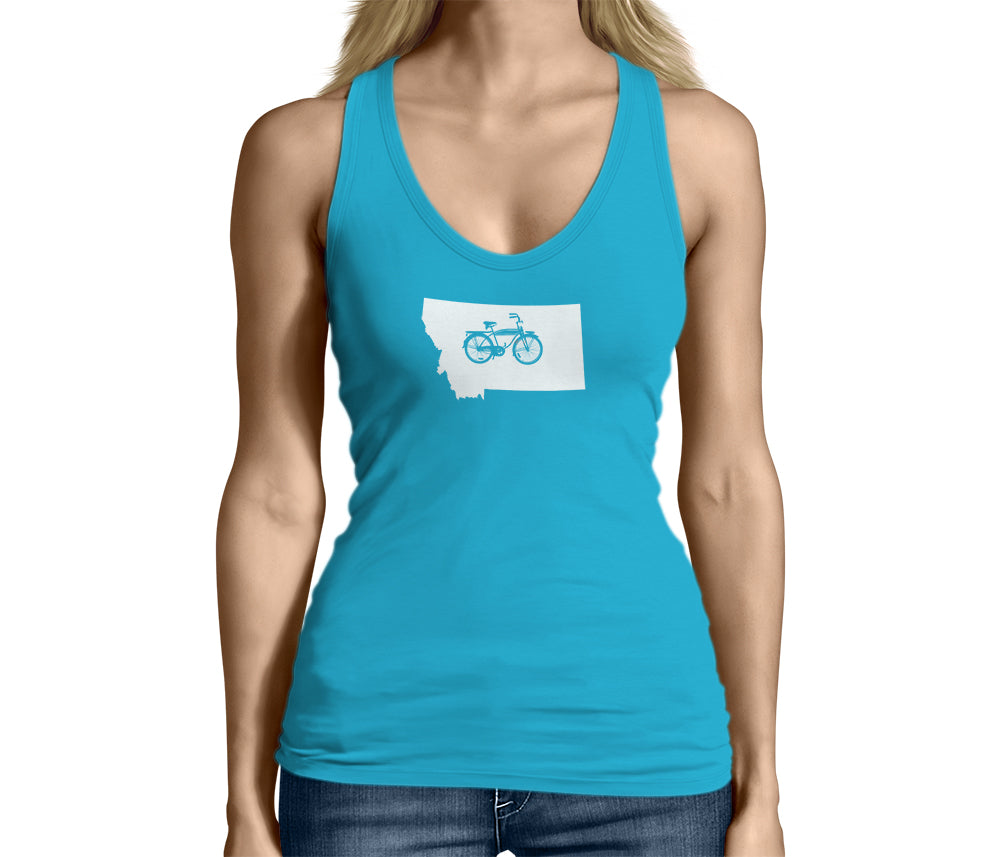 Womens Montana State Bicycle Logo Shirt Light Blue