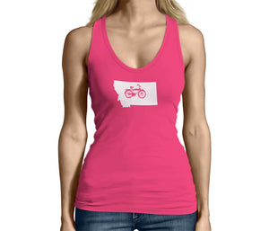 Womens Montana State Bicycle Logo Shirt Pink