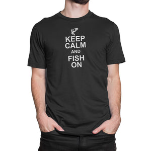 Keep Calm Fish On Mens Black Tshirt
