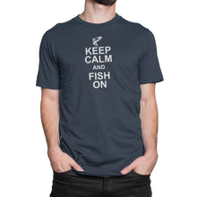 Keep Calm Fish On Mens Blue Tshirt