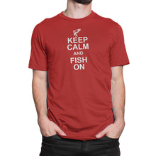 Keep Calm Fish On Mens Red Tshirt