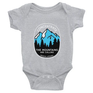 Concentrate The Mountains Are Calling Infant Bodysuite Gray