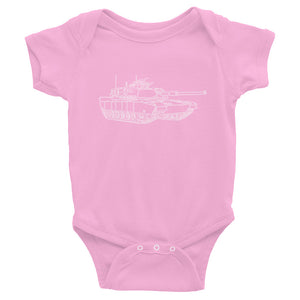 Military Tank Infant Bodysuit Onsie Pink