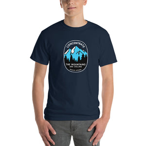 Concentrate, The Mountains Are Calling Mens Shirt Blue
