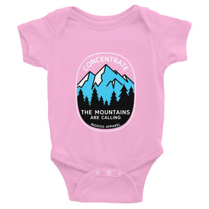 Concentrate The Mountains Are Calling Infant Bodysuite Pink