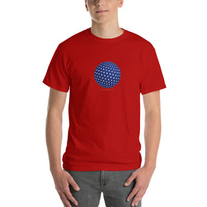 Spherical Tesseract Blue Shape Mens Red Shirt