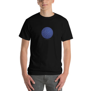 Spherical Tesseract Blue Shape Mens Black Shirt