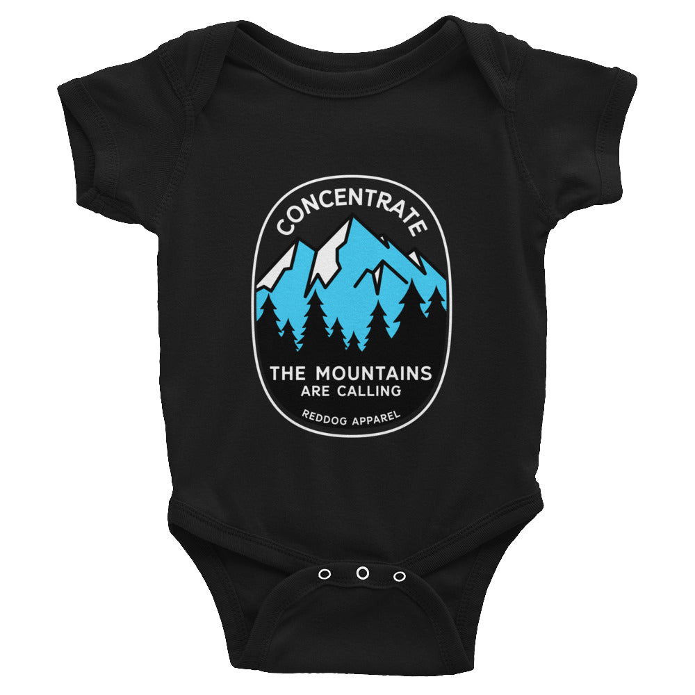 Concentrate The Mountains Are Calling Infant Bodysuite Black