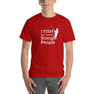 I Fish So I Don't Strangle People Mens T-Shirt Red