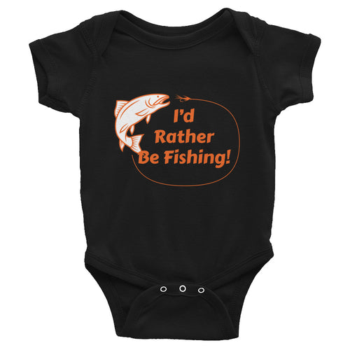 I'd Rather Be Fishing Baby Bodysuit Onesie Black