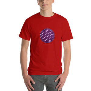 Spherical Tesseract Purple Shape Mens Red Shirt