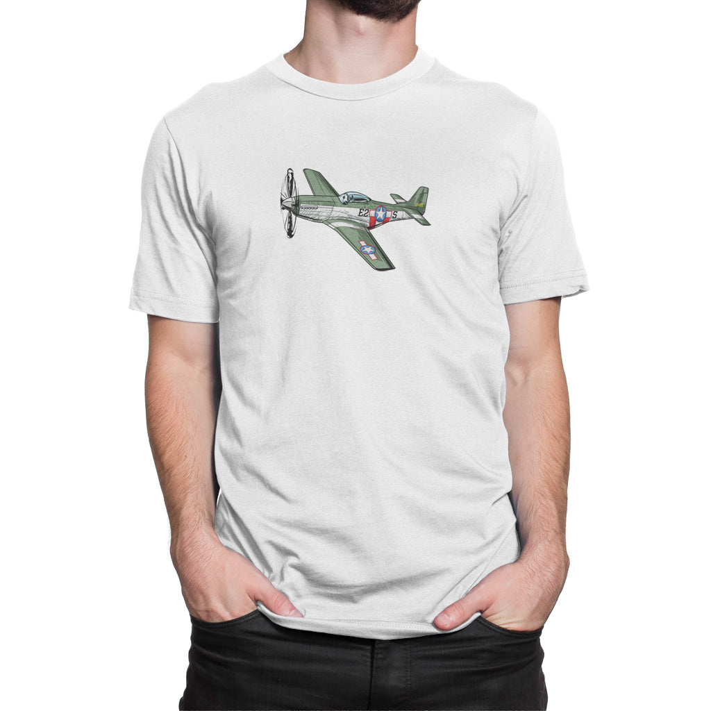America P51 Mustang Airplane Shirt White
