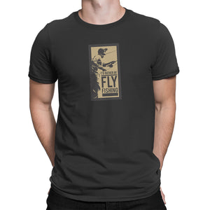 Rather Be Fly Fishing Mens Black Tshirt