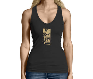 Womens Rather Fly Fishing Black Tank Top Tshirt