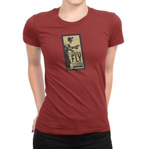 I'd Rather Be Fly Fishing Womens red Tshirt
