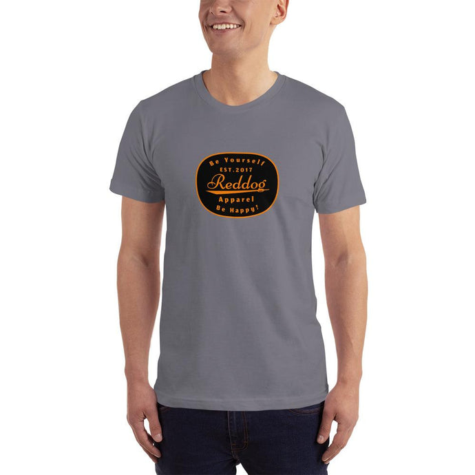Reddog Apparel Be Yourself, Be Happy Oval Logo Mens T-Shirt Gray