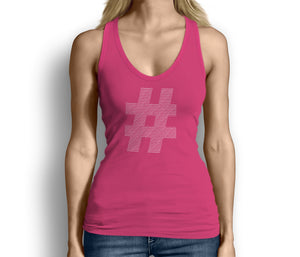 Womens Hashtag Tank Top Pink