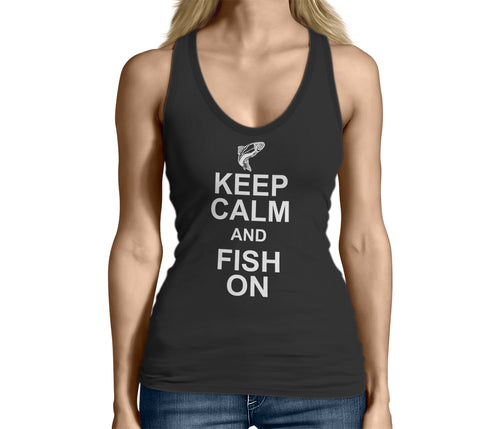 Womens Black Keep Calm and Fish On Tank Top Tshirt