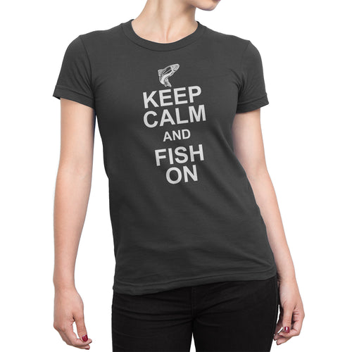 Womens Black Keep Calm and Fish On Tshirt