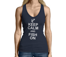 Womens Blue Keep Calm and Fish On Tank Top Tshirt