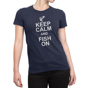 Womens Blue Keep Calm and Fish On Tshirt