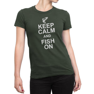 Womens Green Keep Calm and Fish On Tshirt