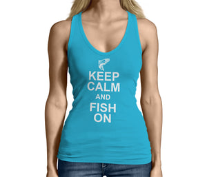 Womens Light Blue Keep Calm and Fish On Tank Top Tshirt