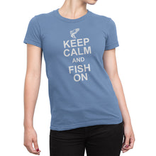 Womens Light Blue Keep Calm and Fish On Tshirt