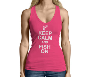 Womens Pink Keep Calm and Fish On Tank Top Tshirt