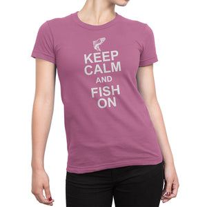 Womens Pink Keep Calm and Fish On Tshirt