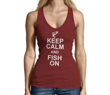 Womens Red Keep Calm and Fish On Tank Top Tshirt