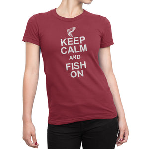 Womens Red Keep Calm and Fish On Tshirt