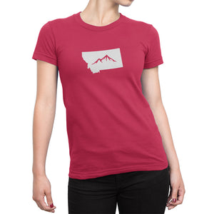 Womens Montana State Mountain Shirt Red