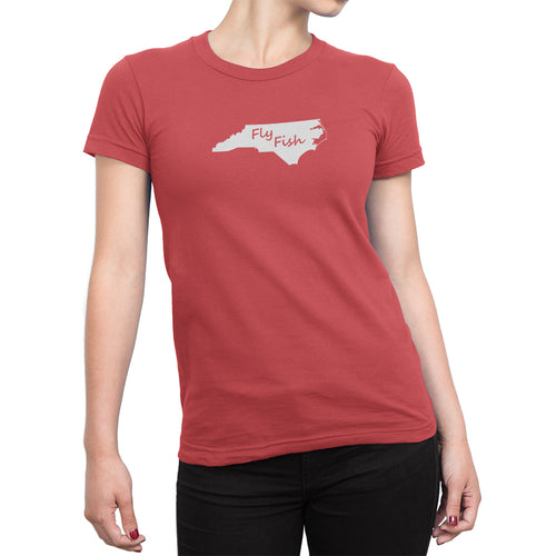 Womens North Carolina Fly Fish Shirt Peach