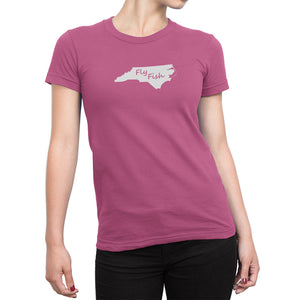 Womens North Carolina Fly Fish Shirt Pink