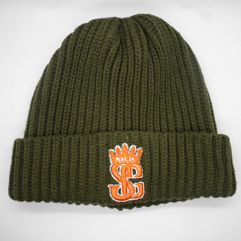Beanie (Olive Green/Orange/White)