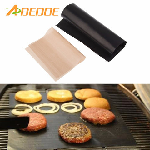 ABEDOE 2pcs Reuseable Non-stick Mat Pan Fry Liner Sheet Cooking Wok Sheet Pad Kitchen BBQ Baking Mats 33x40cm Cooking Tool BBQ