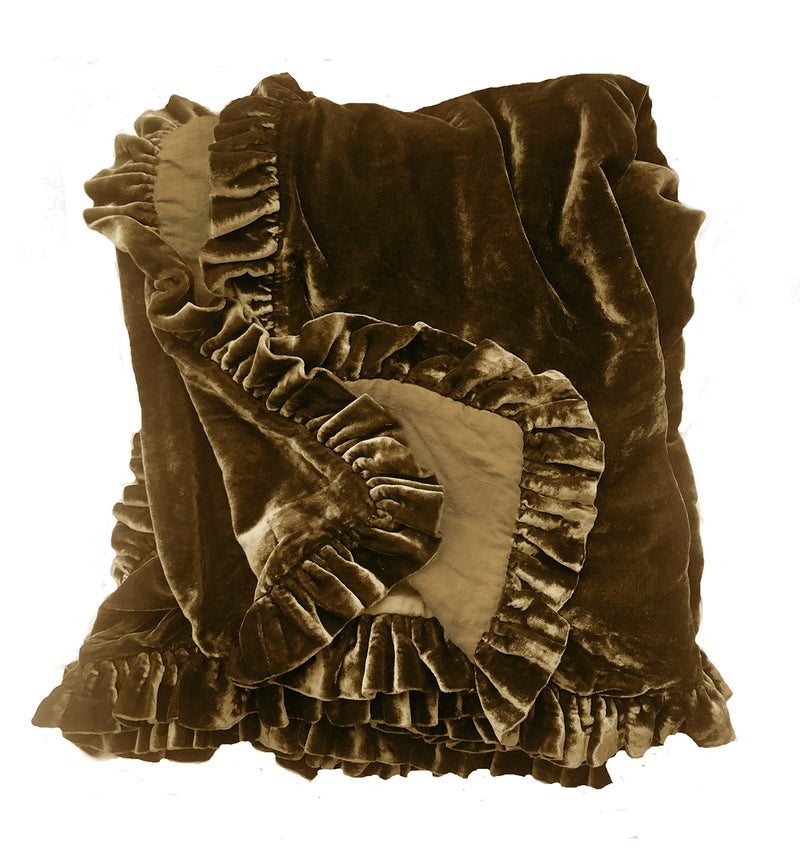 Silk Velvet Ruffle Throw - Bronze