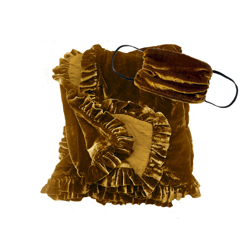 Silk Velvet Ruffle Throw and Mask Gift Set- Bronze
