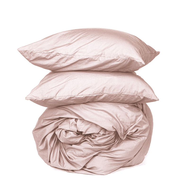 Softly Washed 100% Cotton Poplin Duvet Set-Soft Nude