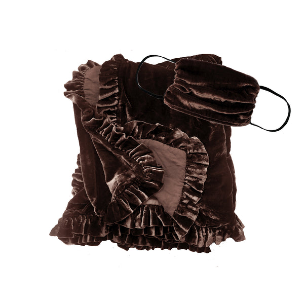 Silk Velvet Ruffle Throw and Mask Gift Set- Cocoa