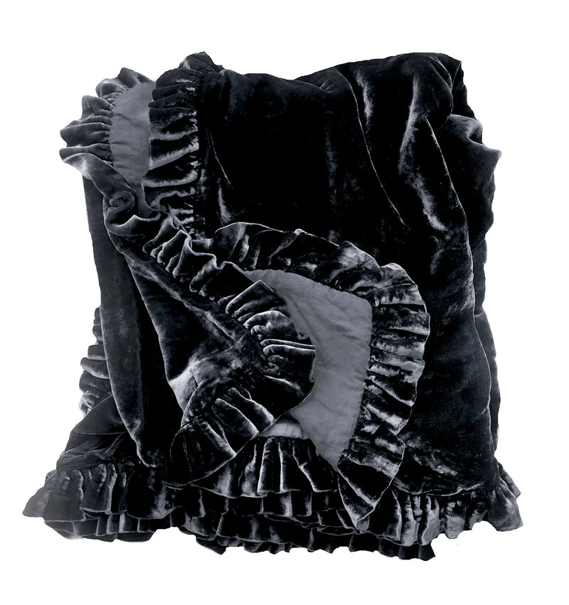 Silk Velvet Ruffle Throw - Coal