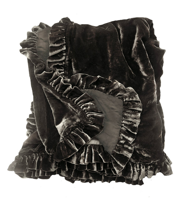 Silk Velvet Ruffle Linen Throw-Cocoa