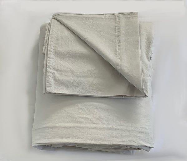 Softly Washed 100% Cotton Poplin Sheet Set-Cement