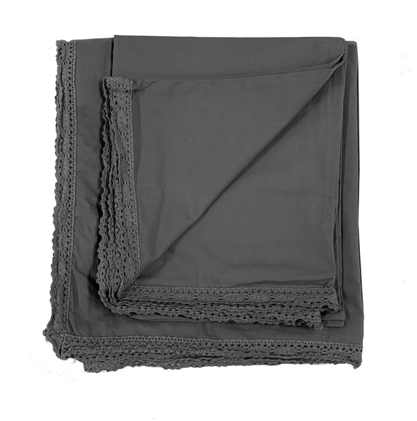 Chelsea Crochet 100% Garment Wash Cotton Poplin Duvet Set-Coal